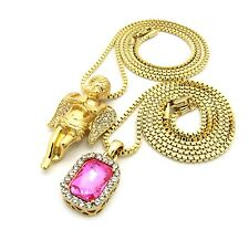 Gold Praying Angel Square Ruby Onyx Gem Pendant Charm Chain Necklace Jewelry Set