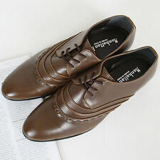 New Mens Brown Dress Shoes Lace Up Oxfords Lined Stitching Shoes Novamall