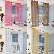 New Sheer Curtain Window Curtains Metal Eyelet Voile Panel Tulle Curtin Voile