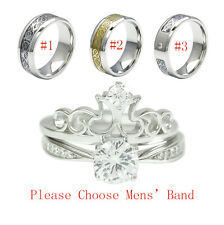3PCS His And Hers Tungsten 925 Sterling Silver Wedding Bridal Matching Ring Set