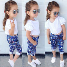 2Pcs Baby Girls Kids Lace T-Shirt Tops+Flower Pants Outfits Summer Clothes 2-7Y