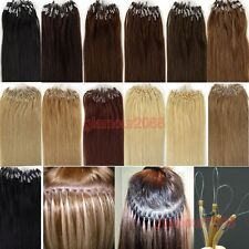 "New 100S 24""0.7g/s Micro Ring Beads Loop Tip Remy Human Hair Extension Straight"