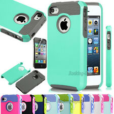 Hybrid Protective Rugged Rubber Defender Case Cover For iPhone 4 4S 4G + Film