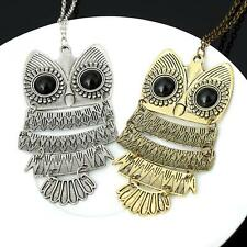 Vintage Silver Bronze Owl Big Eyes Classic Pendant Long Necklace Sweater Jewelry