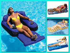 Inflatable Floating Lounger Swimming Pool Chair Party Beach Water Head Arm Rest
