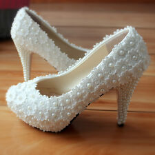 Pearl Lace High Heels Wedding Shoes 8.5cm Heel White Flower Bridal Shoes US4.5-9