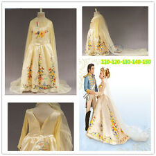 Princess Girls Movies Cinderella Dress Gold Tulle Costume Gown Fancy Dress 3-10Y