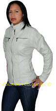 Women Vintage Beige Leather Jacket Sz XS-3XL