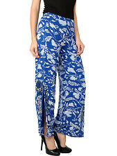 TOPSHOP Floral Blue Embroidered Wide Leg Palazzo Pants Trousers RRP£40 UK6-16