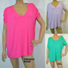 S-M-L PIKO SLOUCHY SHORT SLEEVE V NECK BAMBOO TOPS-3 COLORS