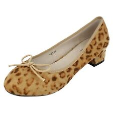 Ladies F9526 Leopard print textile slip on court shoe with bow By spot on £9.99