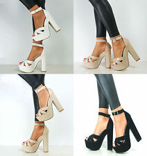Ladies Ankle Strap Platform Chunky High Heel Party Sandals Shoes UK Size 3-8