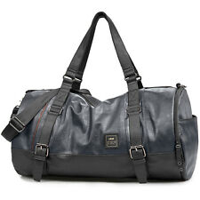"Mens Faux Leather 20"" Duffle Bag Carry-On Luggage Overnight Travel Sport Gym Bag"