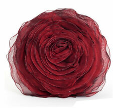 """Hayley Rose Chiffon Filled Decorative Throw Pillow, 16"""" Round, Burgundy Red"""