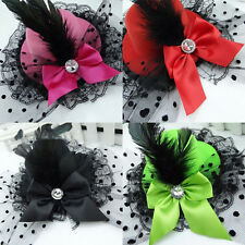 Bow Hair Clip Lace Feather Mini Top Hat Fascinator Burlesque Party Fancy Dress