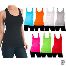 New Womens 100% Cotton Racerback Tank Top Workout Basic Cami Solid T-Shirt S M L