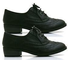 LADIES FLAT LACE UP BLACK OXFORD BROGUE LACE-UP PUMPS WOMENS SHOES SIZES