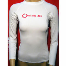 Womens Rashguard White Long Sleeve Sun Shirts Uv Surf Swim Top Lycra Swimwear !!