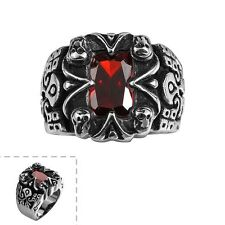 Men's Black Stainless Steel Oblong Ruby Jewelry Cubic Zirconia Gothic Punk Ring