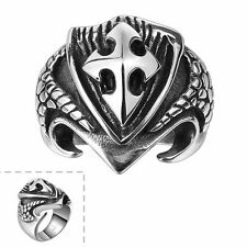 Men's Black Silver Retro Stainless Steel Cross Shield Gothic Punk Ring Jewelry