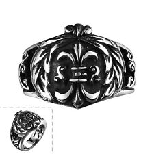 Men's Black Silver 316L Stainless Steel Pattern Gothic Jewelry Vintage Punk Ring