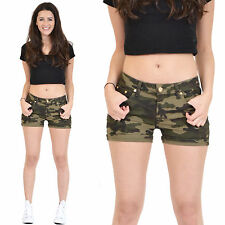 New Ladies Womens Army Military Green Camouflage Fitted Stretch Hot Pants Shorts
