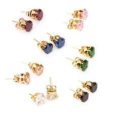 1Pair Clear Crystal Zircon 18K Gold Plated Crown Ear Stud Earring Gift for Women