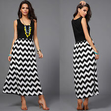 Sexy Women Striped Summer Boho Chiffon Long Maxi Dress Evening Party Beach Dress
