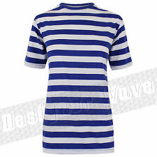Mens Stripe T shirt Nautical Blue White Sailor Football Stripey Popeye QPR