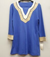 CHARTER CLUB Blue Cotton Tunic Gold White Embroidered Neck Sleeveless Shirt Top