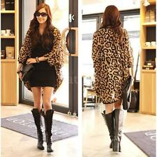 Womens Lady Chiffon Shirt Leopard Print Tops Batwing Long Sleeve Blouse Loose NT