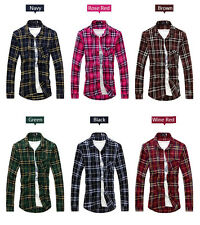 New Mens Plaid Shirts Luxury Casual Slim Fit Stylish Dress Shirts Long Sleeve D