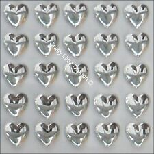 50 x 10mm Clear Non Facet Heart Rhinestone Diamante Stick On Self Adhesive GEMS