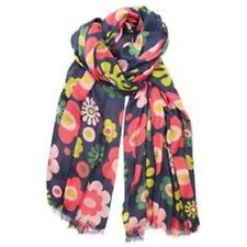 Hem and Edge Navy Floral Scarf