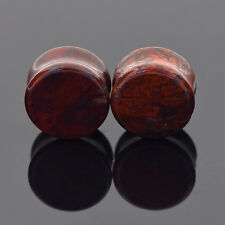 2pcs Red Snake Skin Organic Stone Ear Double Flared Tunnel Plugs Stretching Hot