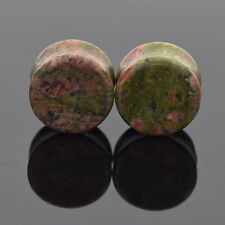 2pcs UNAKITE Natural Stone Ear Flesh Tunnel Plugs Expander Gauge Body Piercing