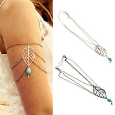Women Leaf Turquoise Arm Bracelet Harness Slave Armband Chain Upper Cuff Armlet