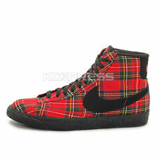 WMNS Nike Blazer Mid Textile PRM [685207-600] NSW Casual Plaid Action Red/Black