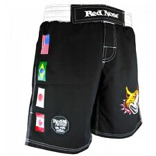 Red Nose Pitbull Jiu-Jitsu MMA Shorts MuayThai KickBoxing Grappling Shorts-BLACK