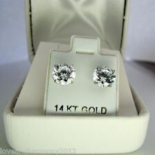 Huge 4 cts round Giamond stud Earrings Solid 14k white gold push backs