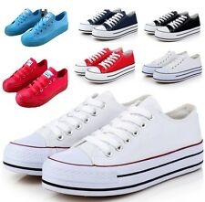 Casual Womens Platform Flat Classic Canvas Fashion Comfy Fashion Sneakers Shoes