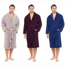 NEW Mens Coral Fleece Dressing Gown Supersoft Bath Robe Housecoat Stripe HT704
