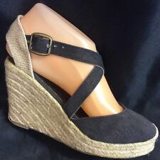 EX-STORE LADIES ESPADRILLE WEDGE SHOE - BLACK - SIZE 3 & 5