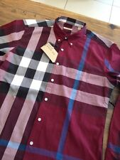 Burberry Brit Exploded Check Men`s Shirt Ship Worldwide New with Tags Claret Red