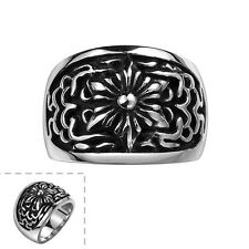 Men's Black Stainless Steel Flower Star Pattern Vintage Gothic Jewelry Punk Ring