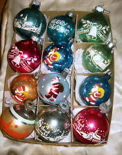 12 Vintage Poland & Stencil Scene USA Shiny Brite Christmas Ornaments in Box