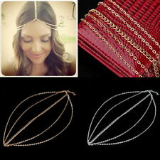 Women Metal Head Curb Tassel Chain Jewelry Headband Head Piece Hair Band FT