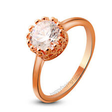 Fashion Jewelry Lady's 18K Rose Gold Plated Crystal Ring 846 Size 6 7 8