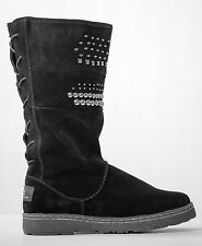 BEARPAW SILVERTHORNE WOMEN'S BLACK STUDDED SUEDE LEATHER WOOL LINED BOOTS SHOES