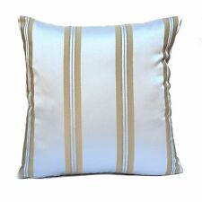 Off White (Ivory) Satin Blend Decorative Throw Pillow Cover with Gold Strips